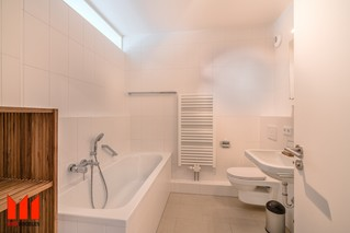 Bathroom with tub and shower, skylight